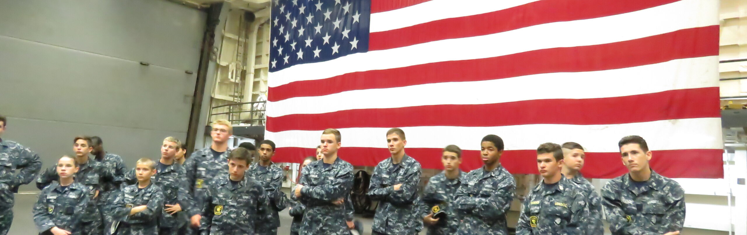 Sea Cadets on the equipment deck of USS New York